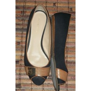"Peep toe canvas tan trim 1/4"" heel slip on shoes"